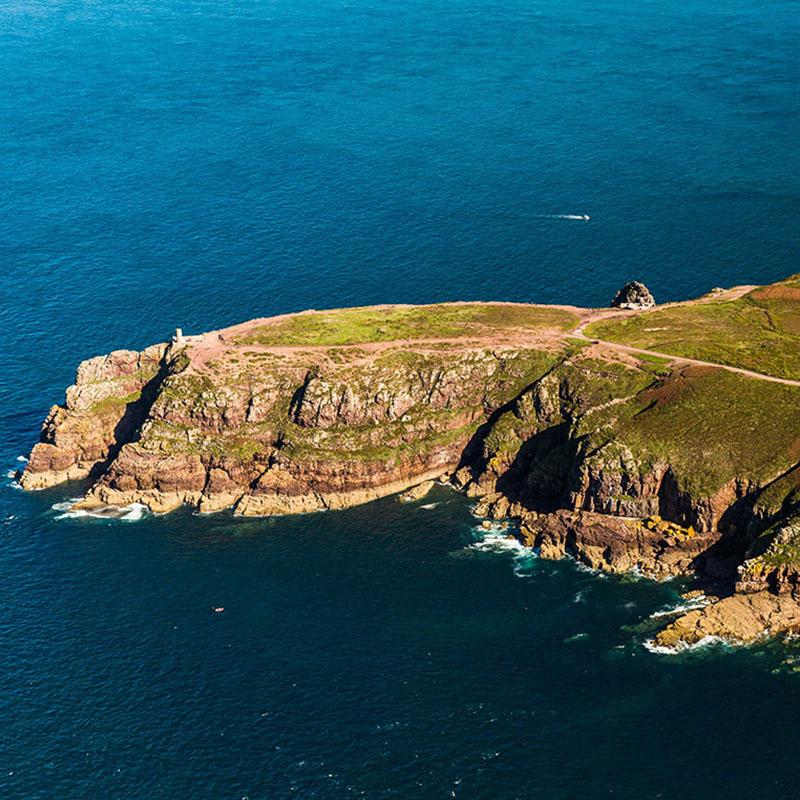 Cape Frehel Luftaufnahme Leuchtturm-Bucht Saint Brieuc Bay Saint Malo