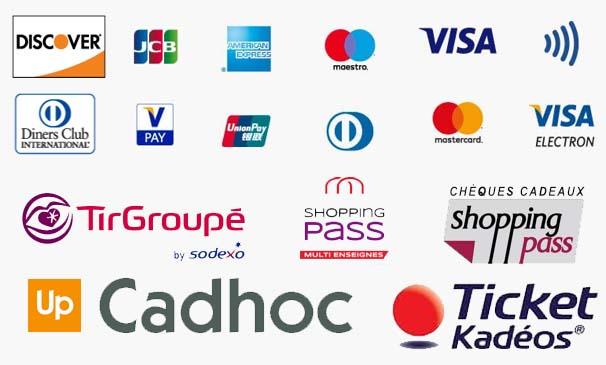 logo JCB Discover Americain Express Master Card Visa Diners Club PAY UnionPay tirgroupe shoppingpass cadhoc ancv kados