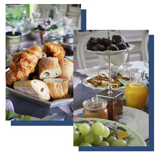 Kontinentales Frühstück la barbinais chambres hotes saint malo Marmelade Croissant Orangensaft Orangensaft Brot