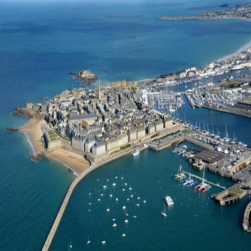 Saint malo tourism Brittany Ille et Vilaine aerial view rancid walls fortifications intra muros lock port