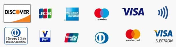 payment method : JCB, Discover, Americain Express, Master Card, Visa, Diners Club, PAY, UnionPay,