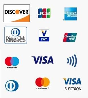 logo cartes paiement cartes bancaires crédit discovert JCB American express Diners CLub VPAY UnionPay Maestro Visa NFC